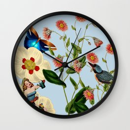 Big Flowers dream  blue Wall Clock