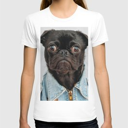 Cute Black Dog - Face Portrait T-shirt