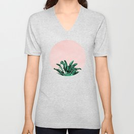 Turquoise Banana and palm Leaves Unisex V-Neck