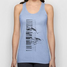 hands of a pianist playing music on the piano Unisex Tank Top
