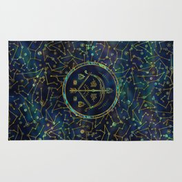 Sagittarius Zodiac Gold Abalone on Constellation Rug