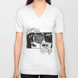 Junji Ito with cherry blossoms Unisex V-Neck
