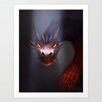 smaug Art Prints featuring Smaug by Angela Taratuta