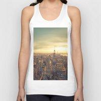 new york skyline Tank Tops featuring New York Skyline Cityscape by Vivienne Gucwa