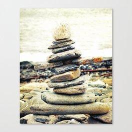 Stone Sculpture on the Beach Canvas Print