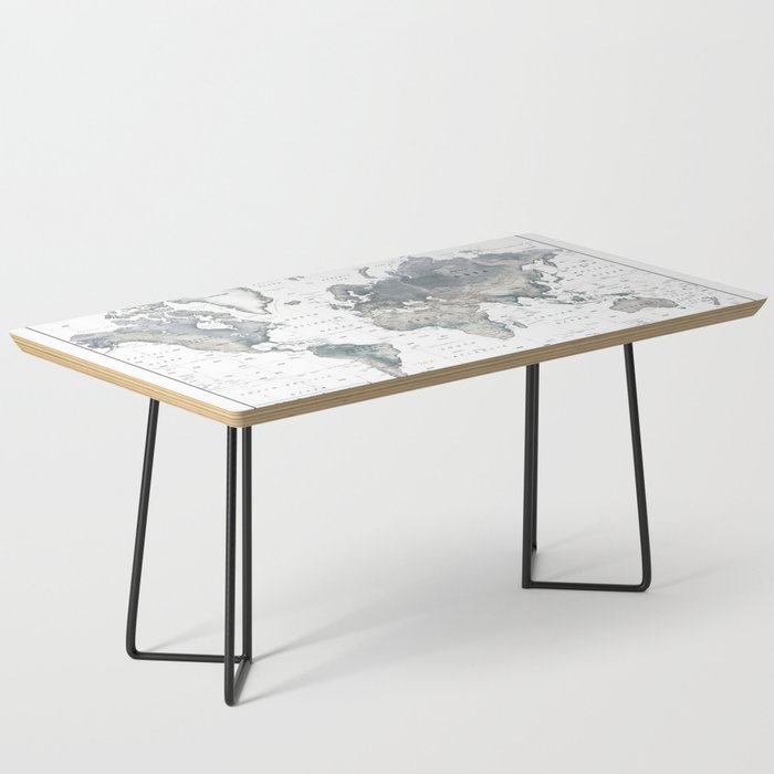 The World [Black and White Relief Map] Coffee Table