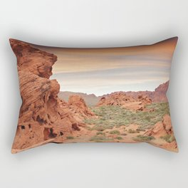 Desert mountains with open sandy area and small plants and rocks Rectangular Pillow