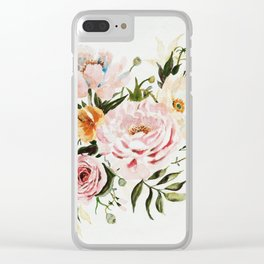 Loose Peonies & Poppies Floral Bouquet Clear iPhone Case