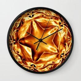 Elegant Shiny Copper Gold Christmas Star Wall Clock