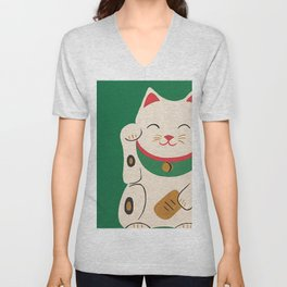 Lucky Cat Unisex V-Neck