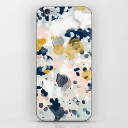 Noel - navy mint gold painted abstract brushstrokes minimal modern canvas art painting iPhone Skin