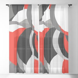 black white grey red geometric digital art Sheer Curtain