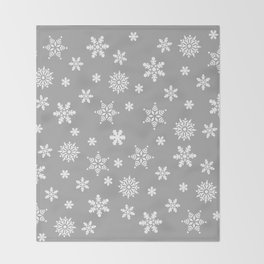 Snow Flurries-Light Gray Throw Blanket