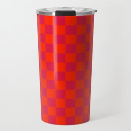 Scarlet Red and Crimson Red Checkerboard Travel Mug