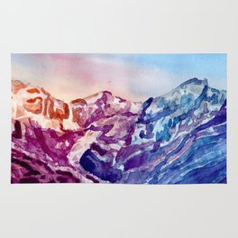 Colorful Watercolor Mountains #1 Rug
