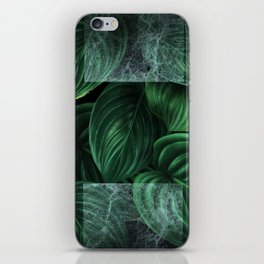 tropical green pattern on black iPhone Skin