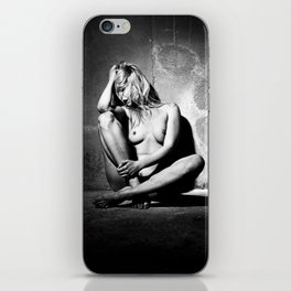 Lonely Beauty - Nude woman alone in a dungeon or cellar iPhone Skin