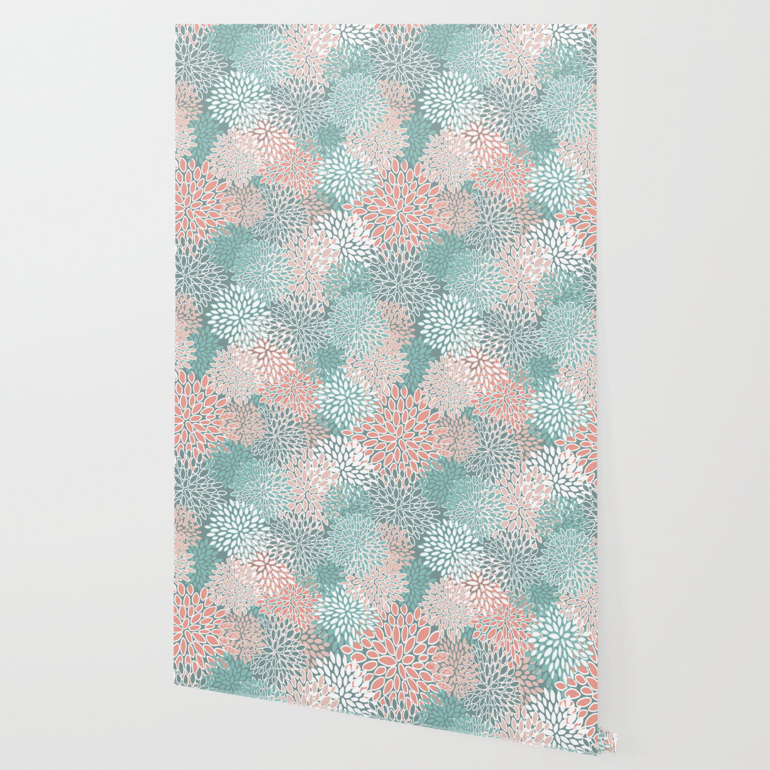Teal And Coral Floral Pattern Wallpaper By Meganmorrisart Society6
