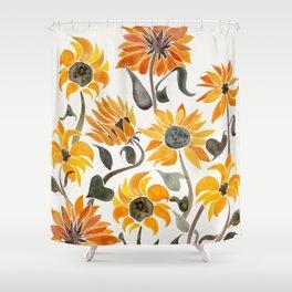 orange and black shower curtain. Sunflower Watercolor  Yellow Black Palette Shower Curtain Curtains Society6