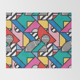 Colorful Memphis Modern Geometric Shapes Throw Blanket