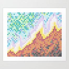 Pixelated Nebula Red Art Print