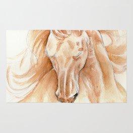 Golden Lusitano Stallion Study In Watercolor Rug