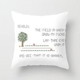 Behold! My Field of Fucks! (Mature) Throw Pillow