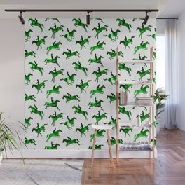 Watercolor Showjumping Horses (Green) Wall Mural