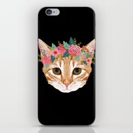 Orange Tabby cat breed with floral crown cute cat gifts cat lady must haves iPhone Skin