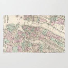 Vintage Map of NYC and Brooklyn (1865) Rug
