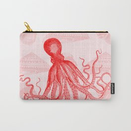 Octopus SeaShells Salmon Color Design Carry-All Pouch