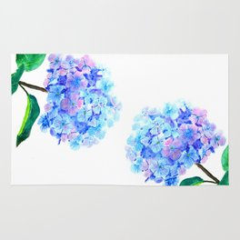 blue purple hydrangea Rug
