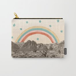 Canyon Desert Rainbow // Sierra Nevada Cactus Mountain Range Whimsical Painted Happy Stars Carry-All Pouch