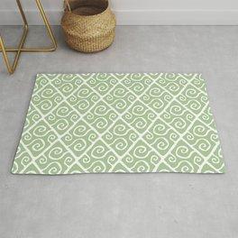 Mid Century Modern Diamond Swirl Pattern Sage Green Rug