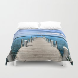 Stepping to the Sea Duvet Cover