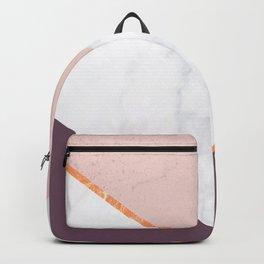 BLUSH Pink Marble Gold PLUM Geometric Backpack