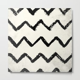 ZigZag Stripes on Ivory Metal Print