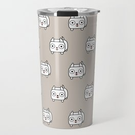 Pitbull Loaf - White Pit Bull with Cropped Ears Travel Mug