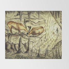 Rock Shelter Reindeer  Throw Blanket
