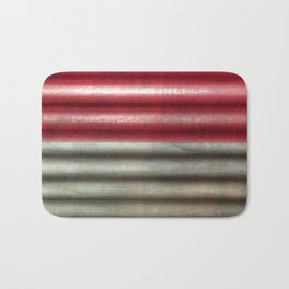 Industrial Wall | Red Grey Striped Wall | Contemporary Art Bath Mat