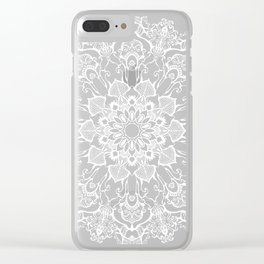 hand drawn white mandala on dark violet background Clear iPhone Case