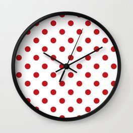 Red Polka Dots Wall Clock