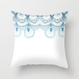 Art Deco Lace Zentangle Design in Blue Throw Pillow