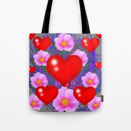 Red Hearts & Pink Wild Rose Valentine Purple Art Tote Bag