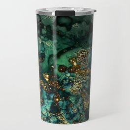 Gold Indigo Malachite Marble Travel Mug