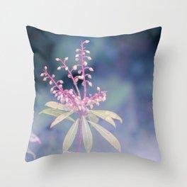 Dreamy Winter Haze, Pink Macro Plant - Nature Photography Throw Pillow