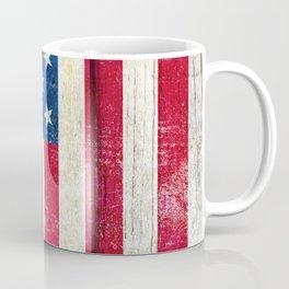 Vintage American Flag On Old Barn Wood Coffee Mug