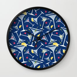 Blue Martinis Wall Clock