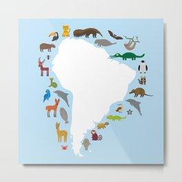 South America sloth anteater toucan lama armadillo manatee monkey dolphin Maned wolf raccoon jaguar Metal Print