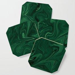 Modern Cotemporary Emerald Green Abstract Coaster